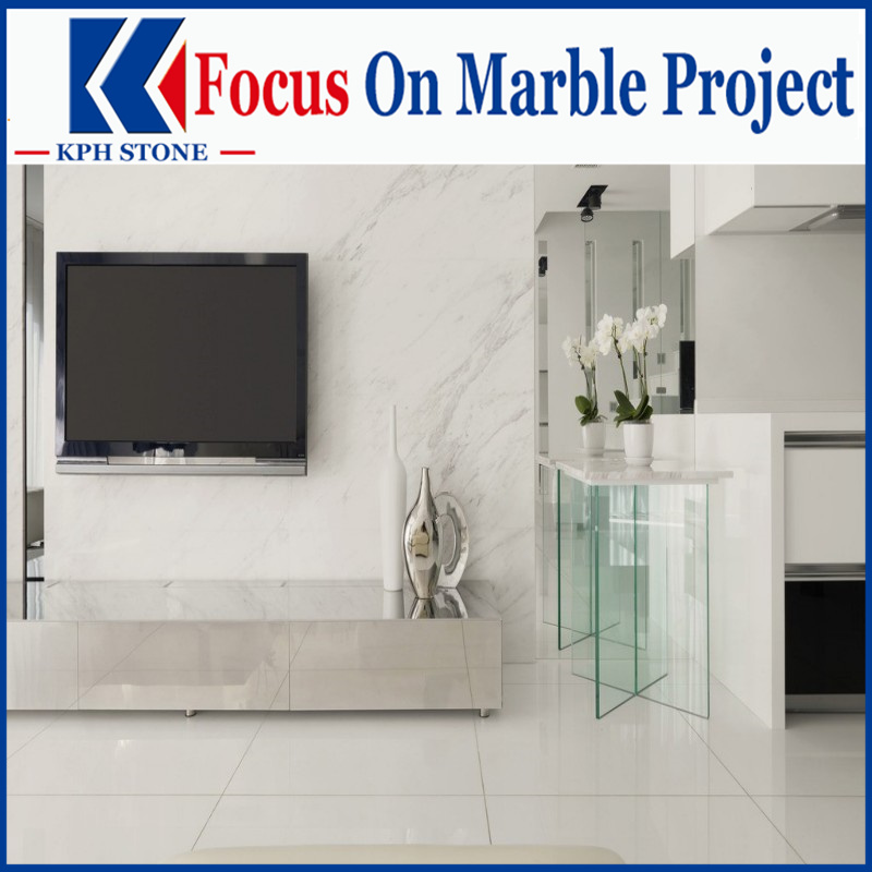 East Snow White marble slab and tiles flooring for projects