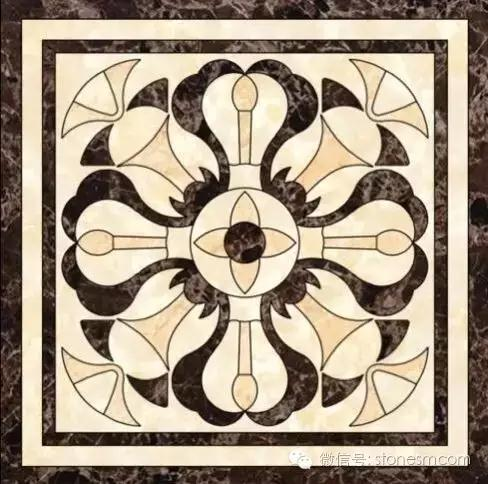 Marble water-jet medallion