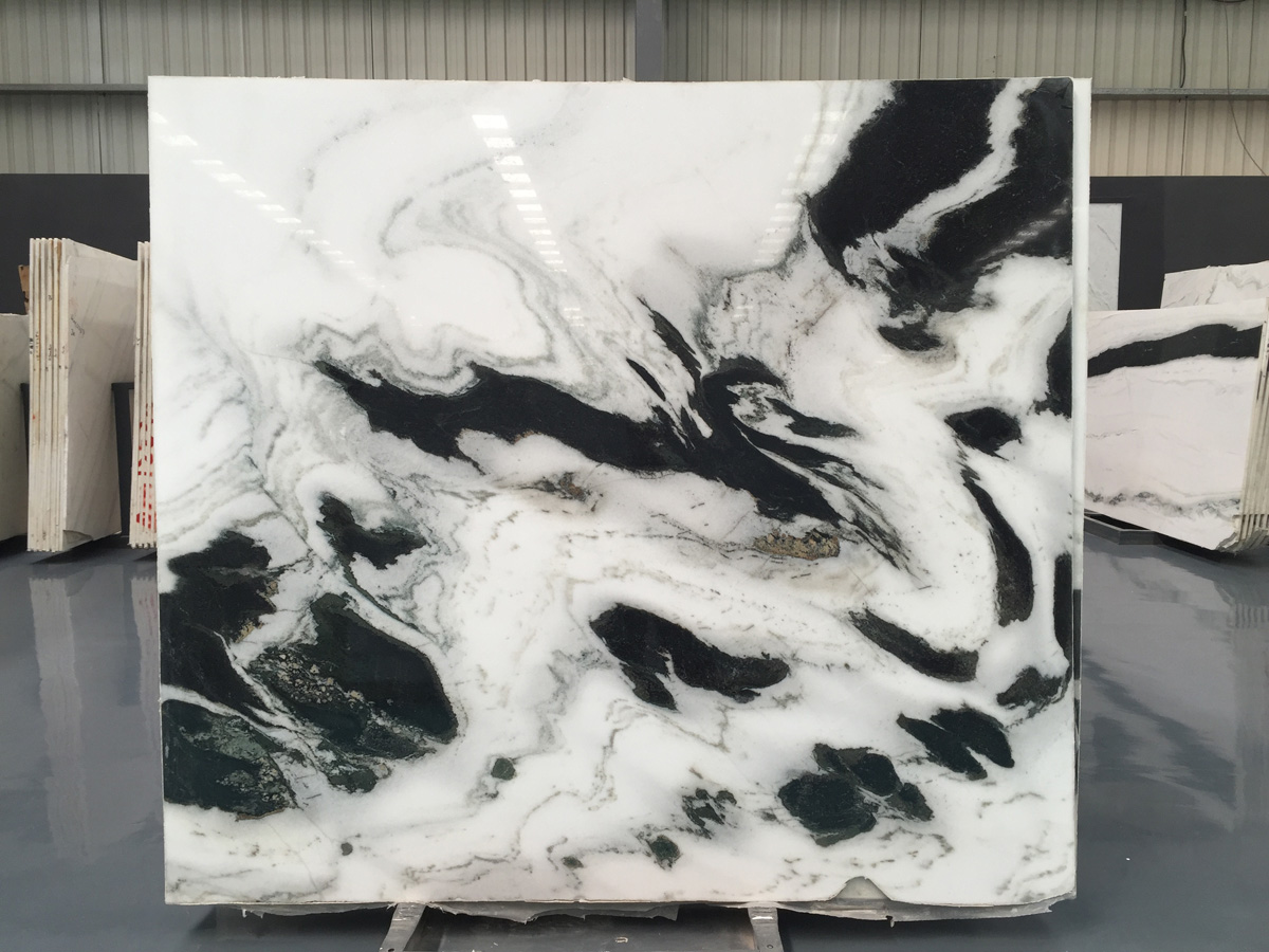 Polished Panda White Marble Slabs