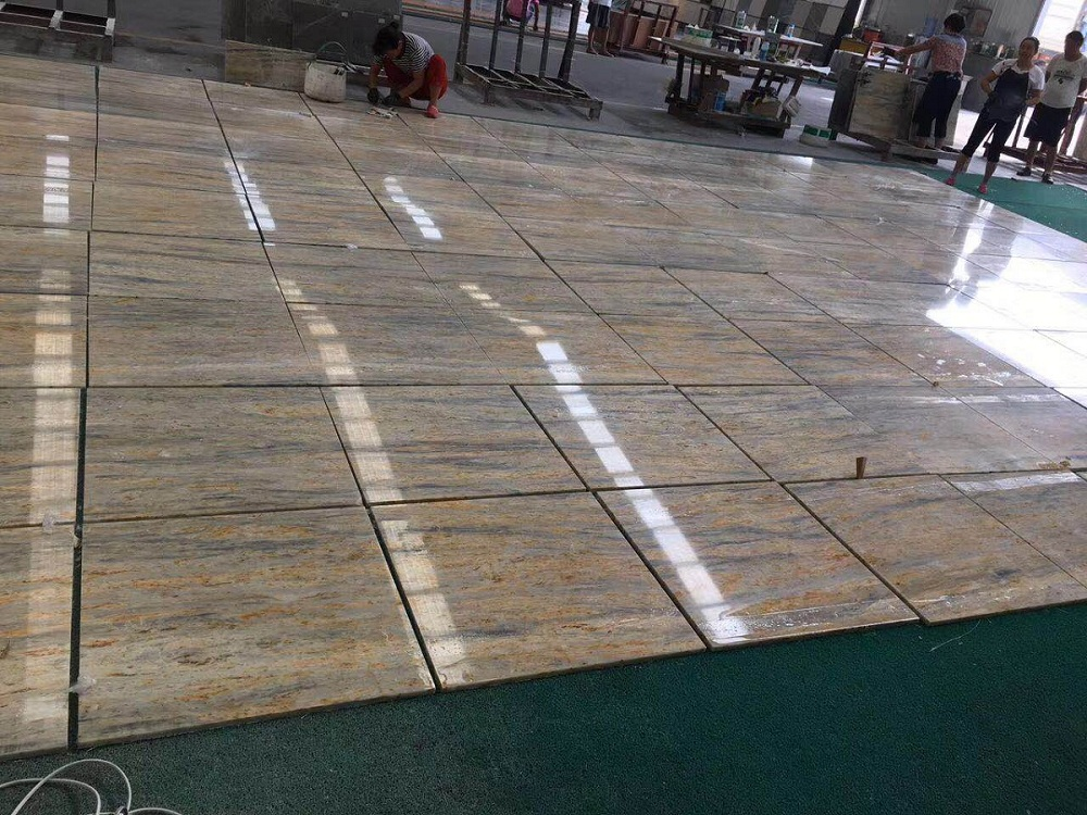 yellow marble tile
