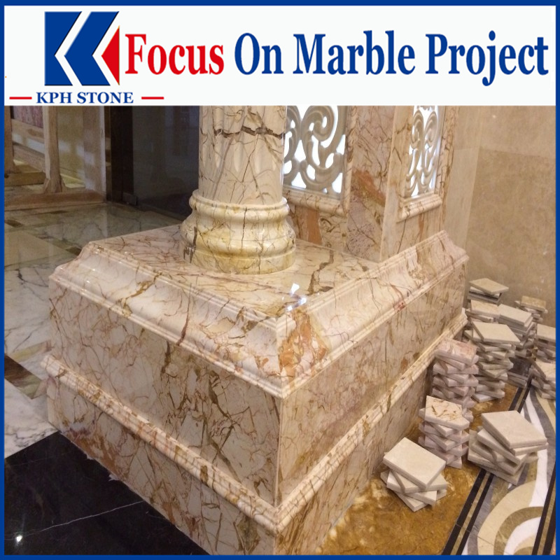Picasso Gold Marble Column for Hotel Projects