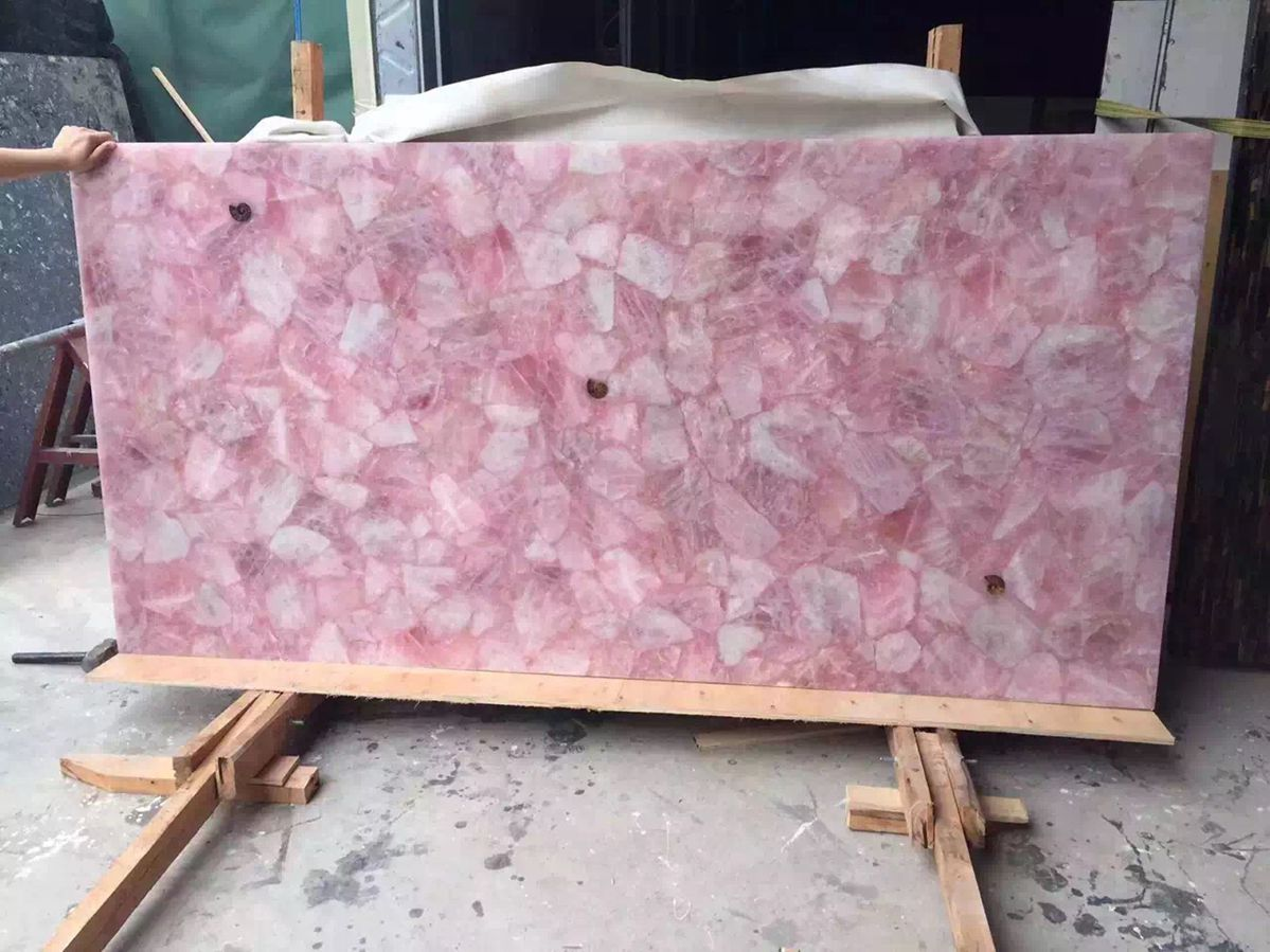 Semi Precious slabs pink crystal