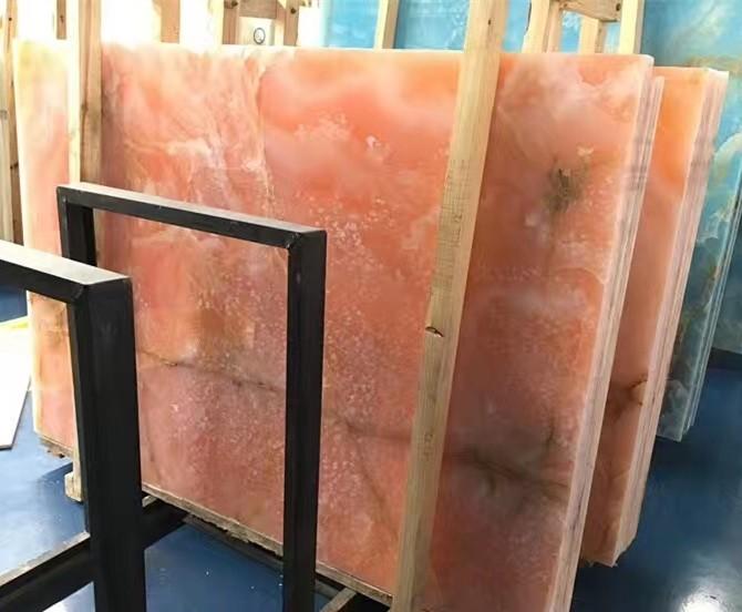 Persia Pink Onyx Slab For Bathroom