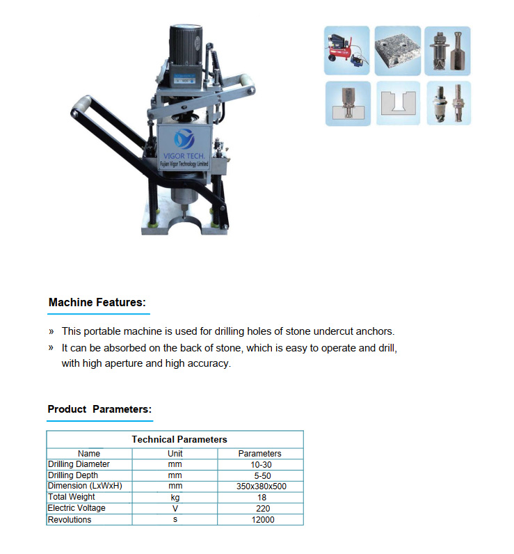 Portable Drill Machine for Undercut Anchors