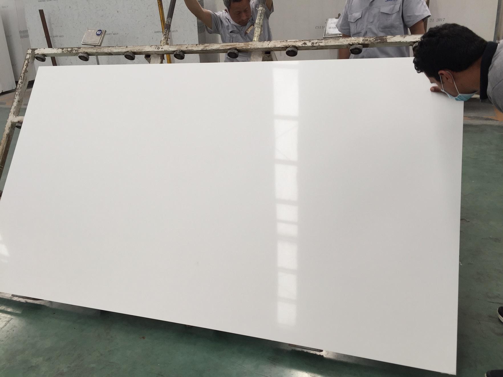 Super white color artificial quartz stone slabs