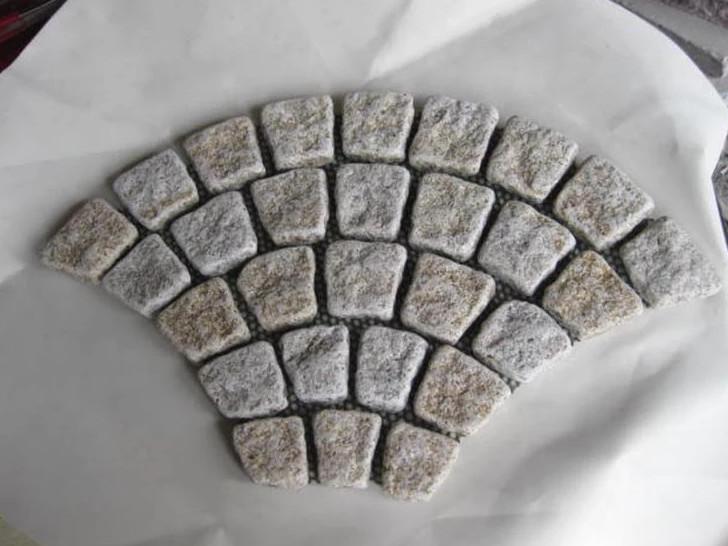 Meshed Round Edge 3D Granite Cobble Stone Paving
