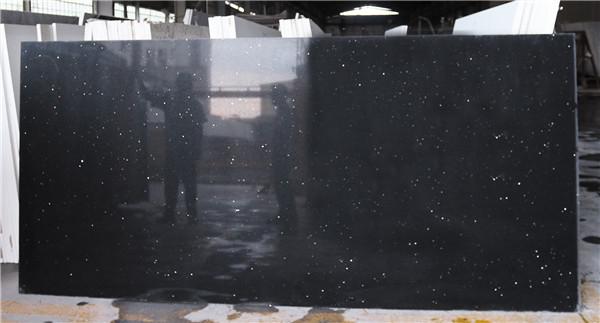 black galaxy quartz stone slab