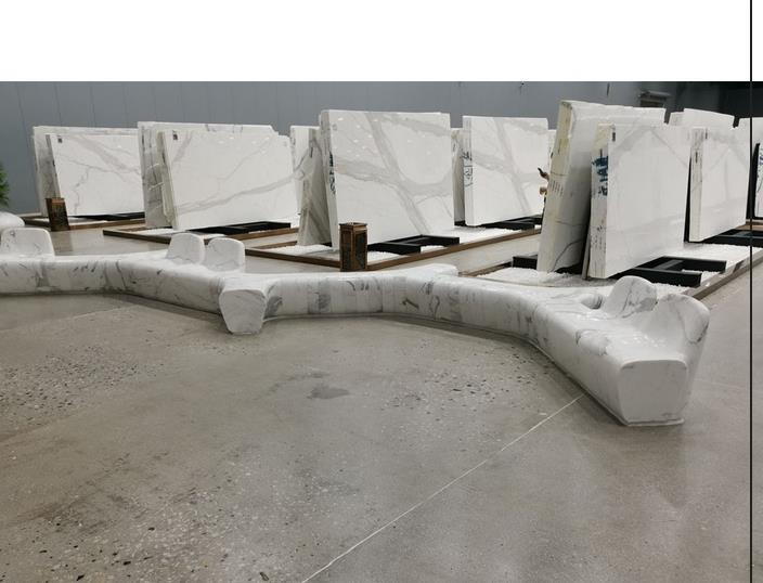 Custom cut Italy Grey Veins Stone Garden Gold marble Calacatta White Marble Bench