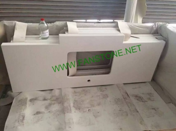 Artificial stone White quartz vanity top