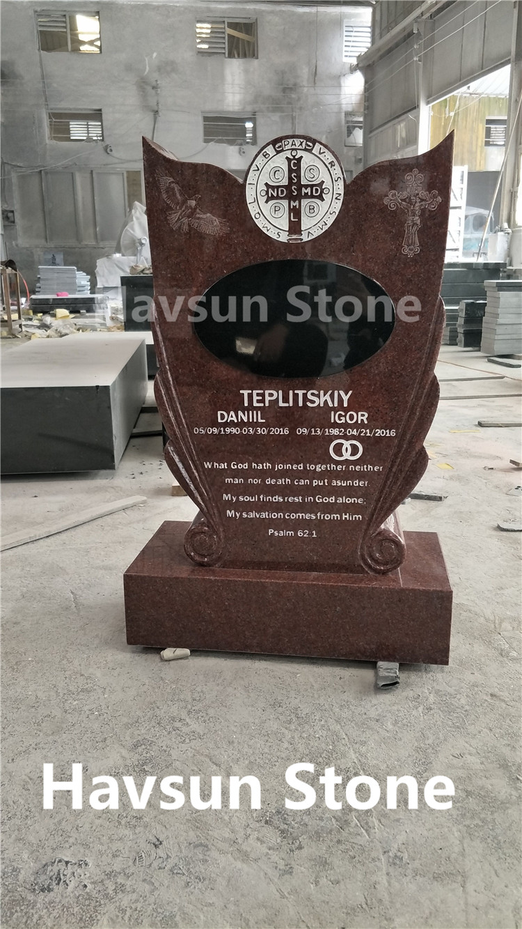 Red Granite Cross Eagle Double Monument Tombstone