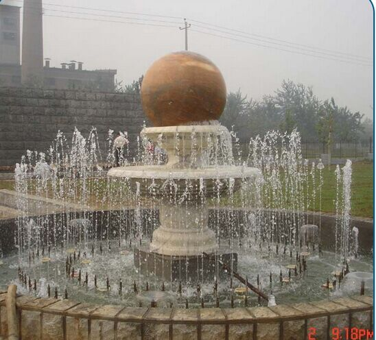 Outdoor Natural Stone Floating Rolling Ball Fountain for Sale