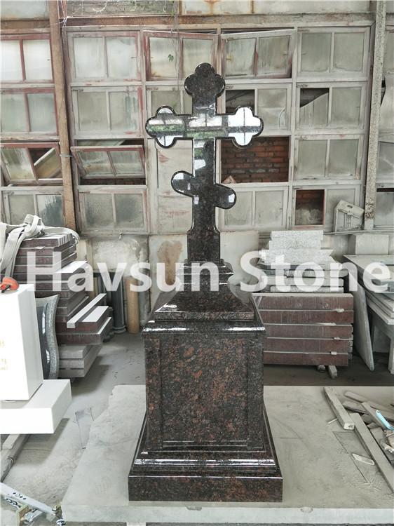 Brown Cross Pedestal Monument Tombstone Headstone