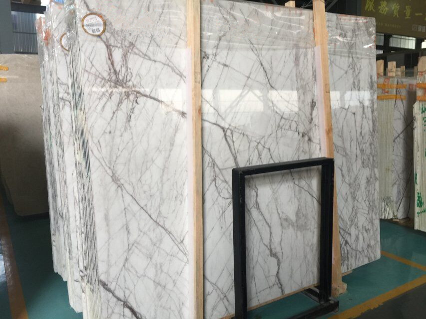 Calacatta Purple White Marble Polished Slabs for Home Design Wall Flooring