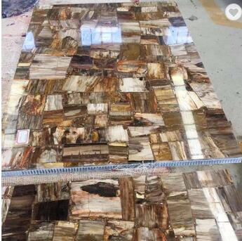 Luxury Wood Fossil Tile Stone Slabs