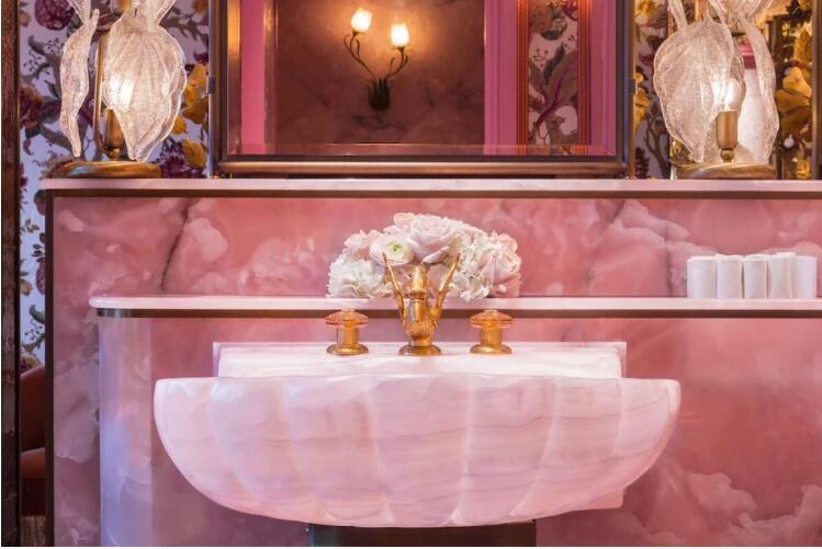Pink Onyx Marble Slab For Bathroom Tiles
