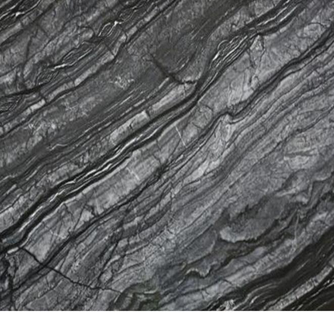 Chinese Natural Black Stone Ancient Wood Marble Slab