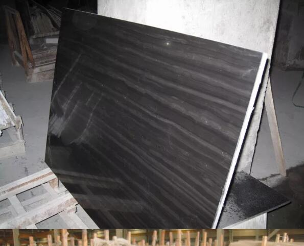 Chinese Nice Polished High Quality Black Wooden Marble Tiles