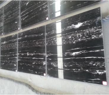 Hot Sell Polish White Vein In Black Marble Slabs And Tiles
