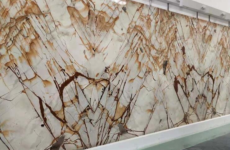 Brazil Spiderman Quartzite Stone Roman Impression Yellow Marble Golden Color Marble Roman Impression Marble