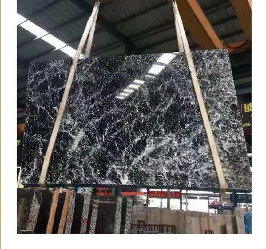Chinese Black Marquina Marble Slab with white snowflakes veins