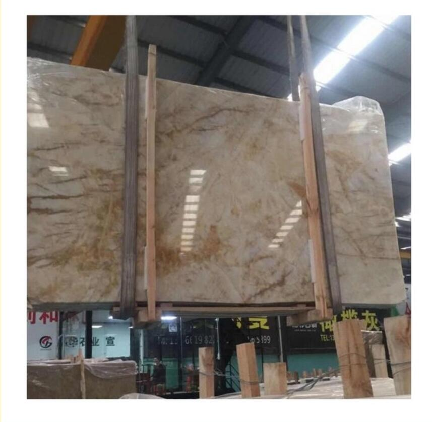 superior quality beige yellow onyx marble with gold veins for counter top