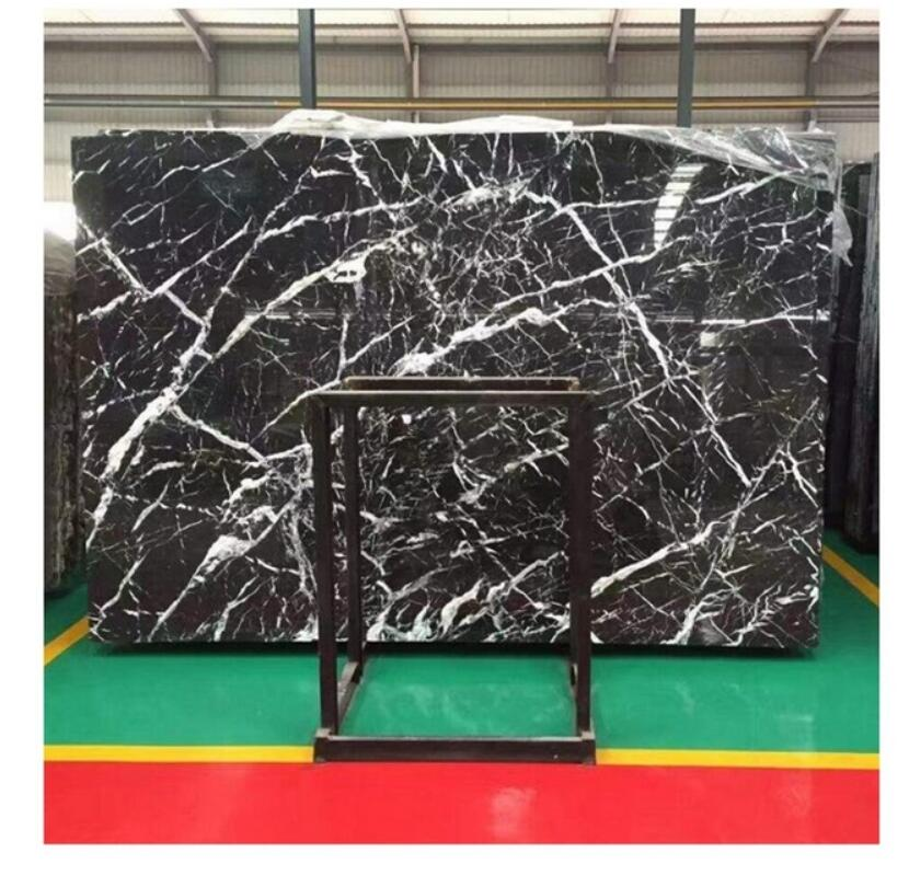 nero marquina marble slab with white veins