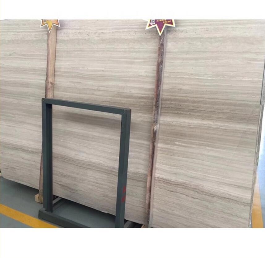 Chinese Natural Stone White Wood Vein Marble Slab