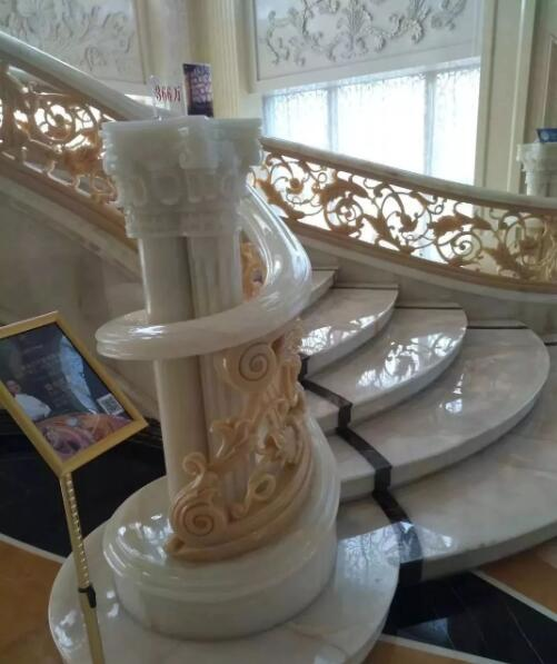 Luxury indoor marble stone stair step tread