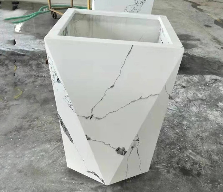 Wholesale Grey Vein White Quartz Planter Pot