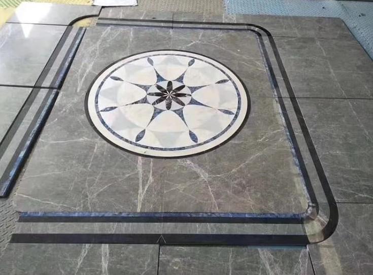 White Floor Medallion Waterjet Marble Tile