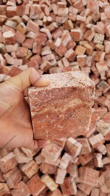 Red Travertine Cubic Stone