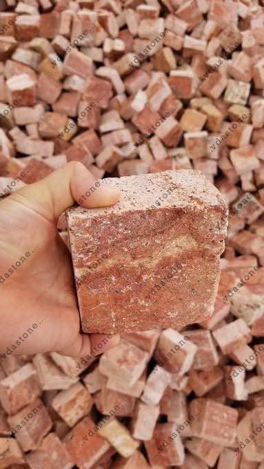 Red Travertine Cubic Stone