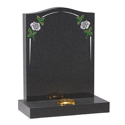 Black Granite Headstone With Small Flowers