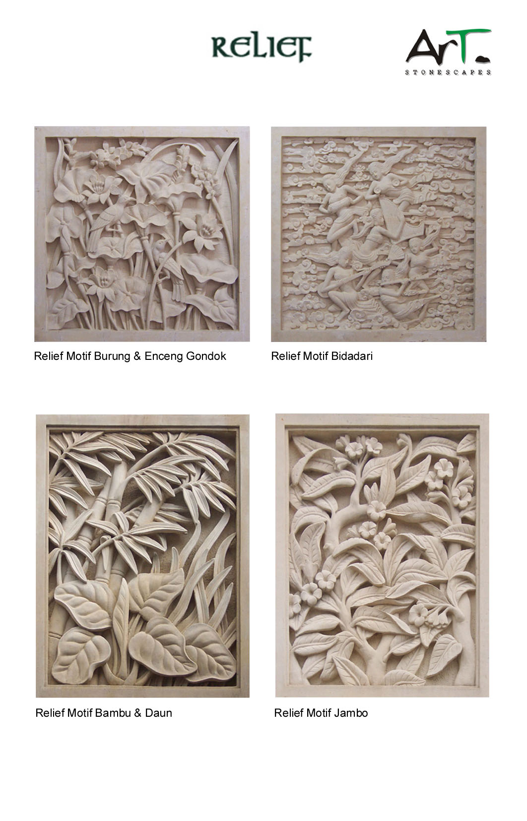 Bali Stone Carvings Wall Decor Relief Stone