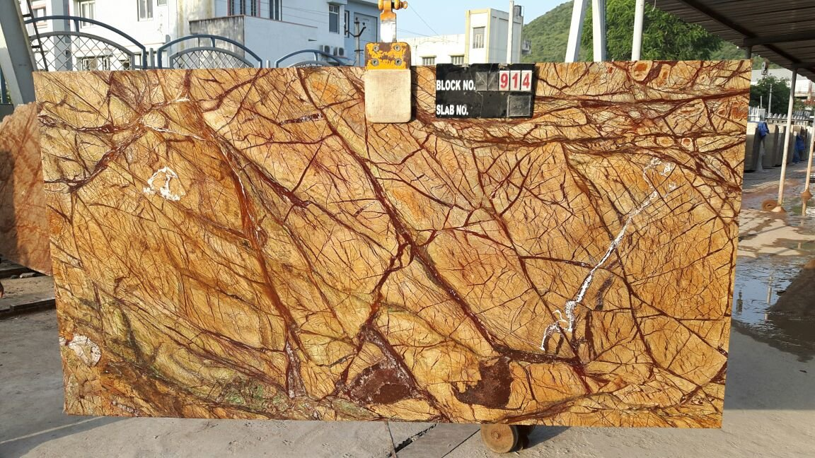 Rain Forest Yellow Marble Slabs