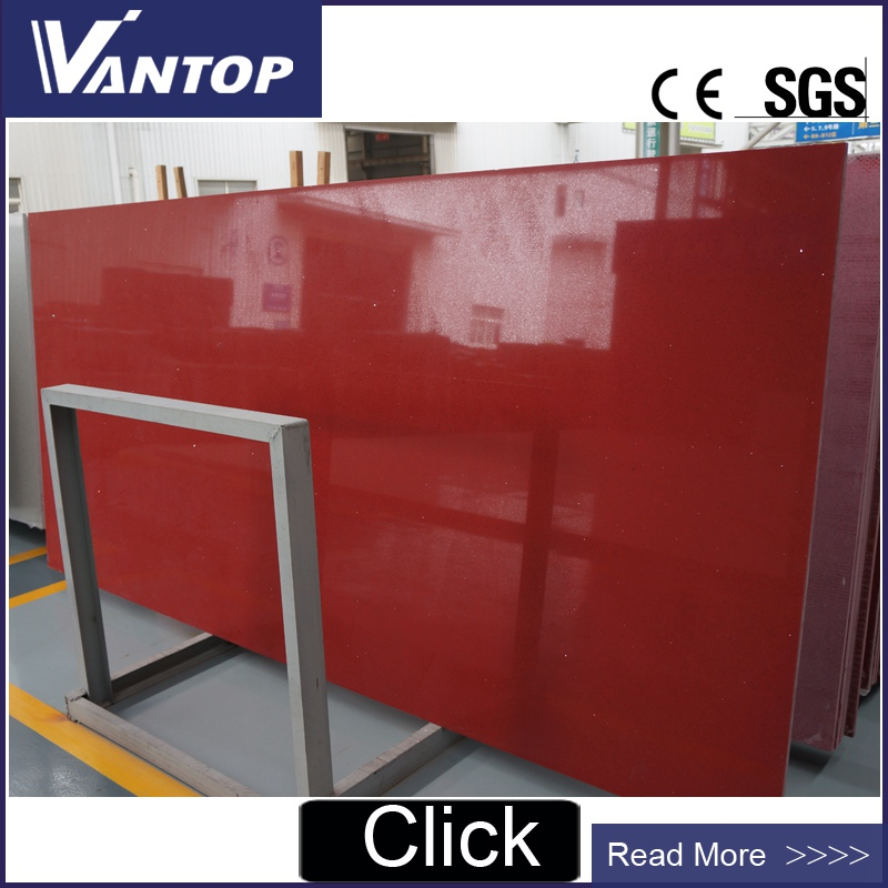 Red Engineered Quartz Stone Slab Jumbo size