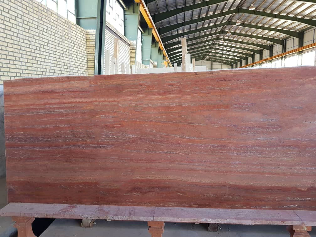 Red Vein Cut Travertine Polished Slabs