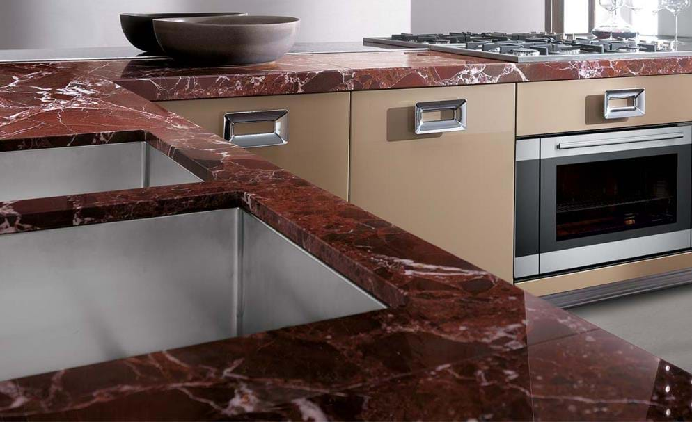 Rosso Lepanto Marble Kitchen Polished