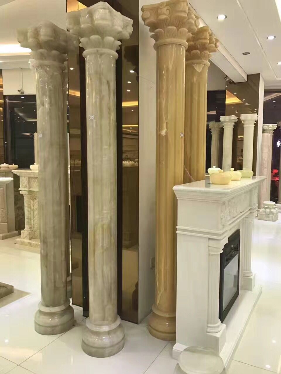 Marble Polished Roman columns