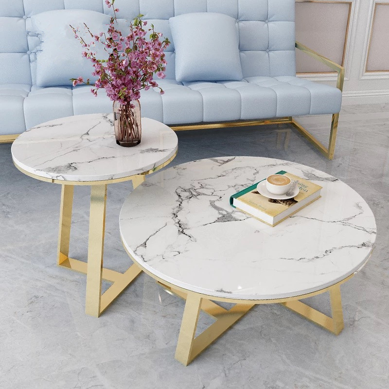 Round Volakas White Marble Coffee Tabletop