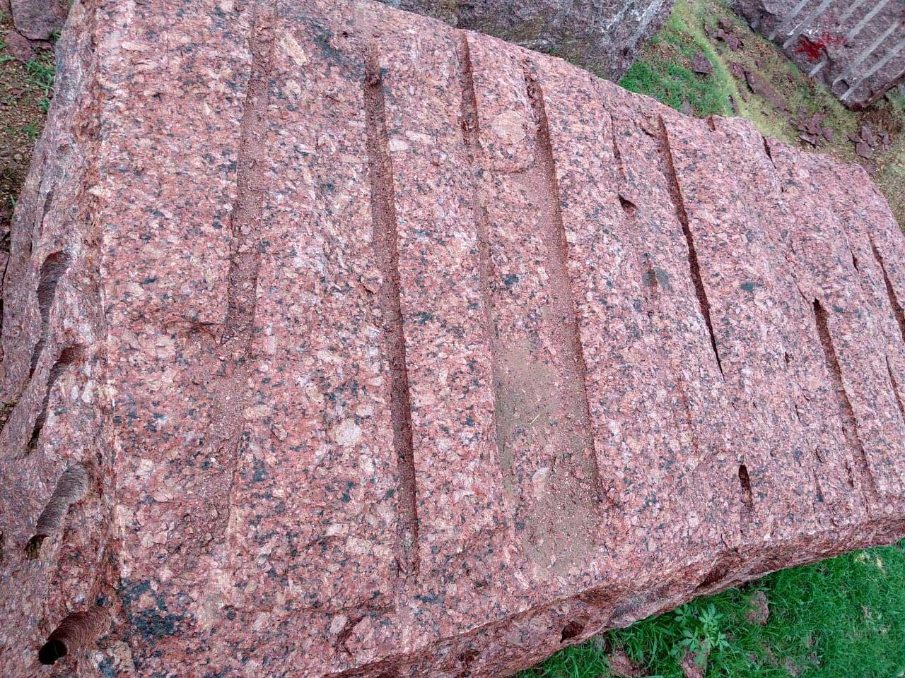 Ruby pink granite block