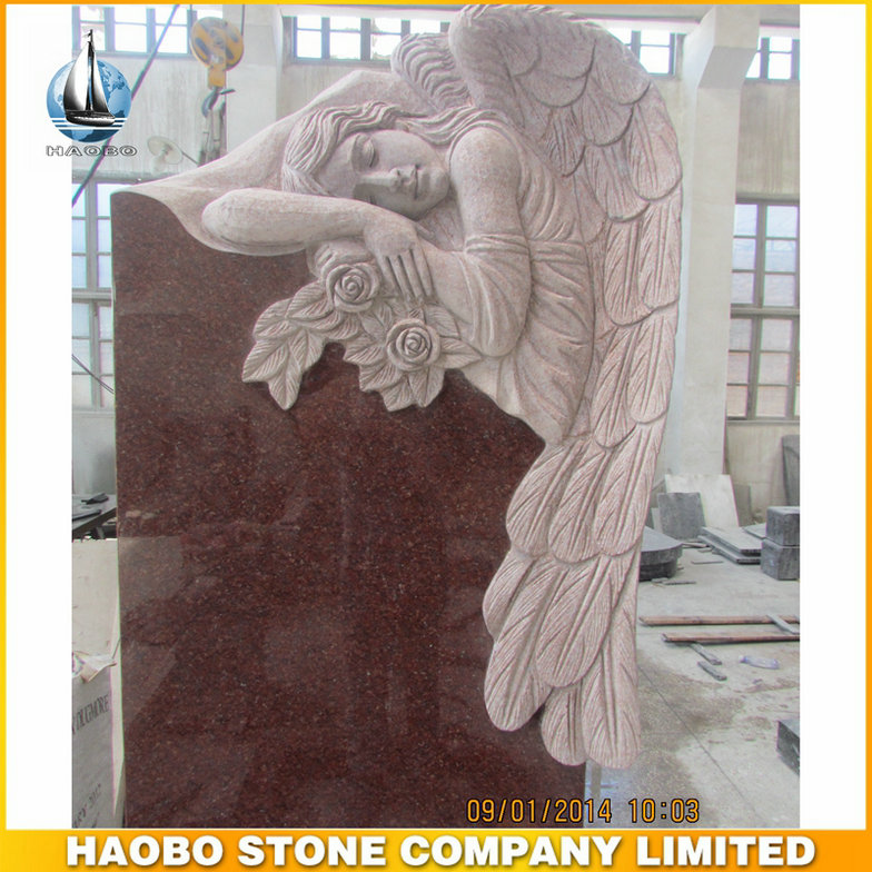 European Style Monument Angel Statues with Rose Sculpture Granite Tombstone Direct Selling up Headstone