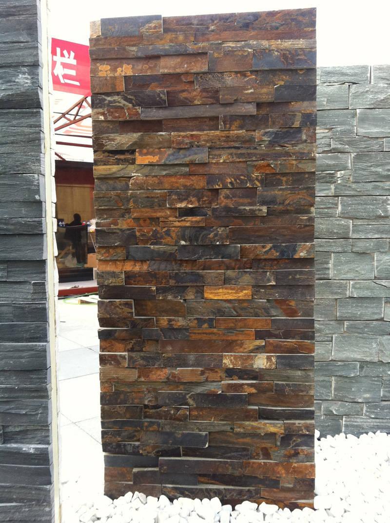 Rusty slate culture stone wall veneer