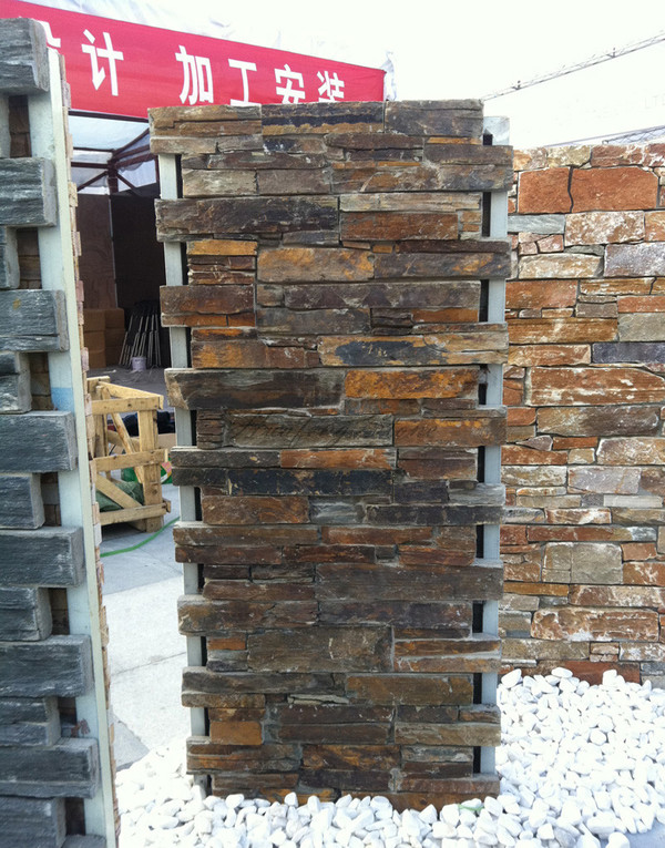 Exterior rusty slate cement stone wall panel