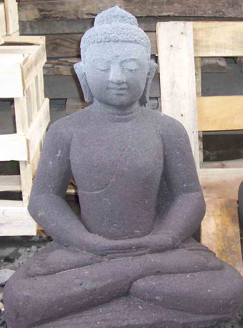 Java Buddha Head Statues Black Lavastone Hand Made