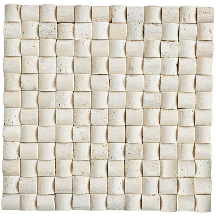 natural stone white ivory travertine 3D natural split face marble mosaic tile