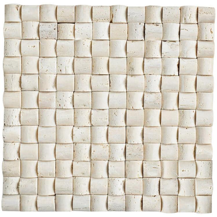natural stone white ivory travertine 3D natural split face marble mosaic tile