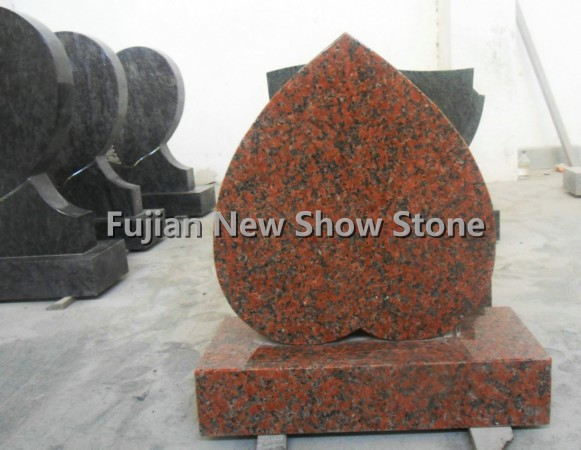 Maple red granite heart shape monuments