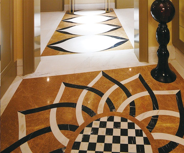 Multicolor Marble waterjet medallion tiles for flooring