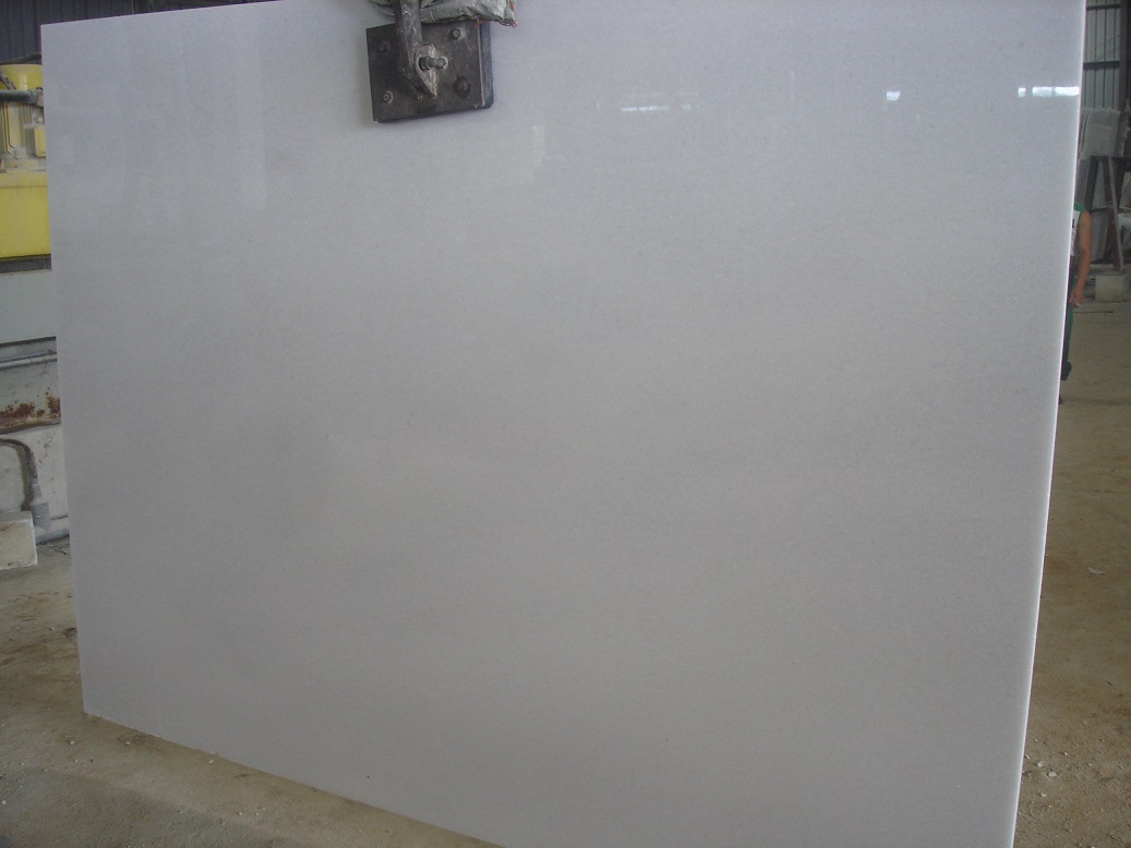 PURE WHITE MARBLE GANGSAW SLAB POLISHED SMALL GRAIN